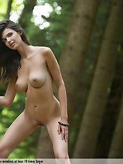 Beautiful nude brunette posing in the forest