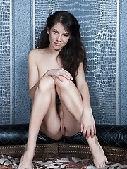 Young brunette undressed in her home