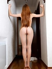 Redhead girl take off all clothes and show her nice body